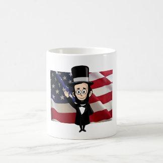 Honest Abe and American Stars and Bars Waving Basic White Mug