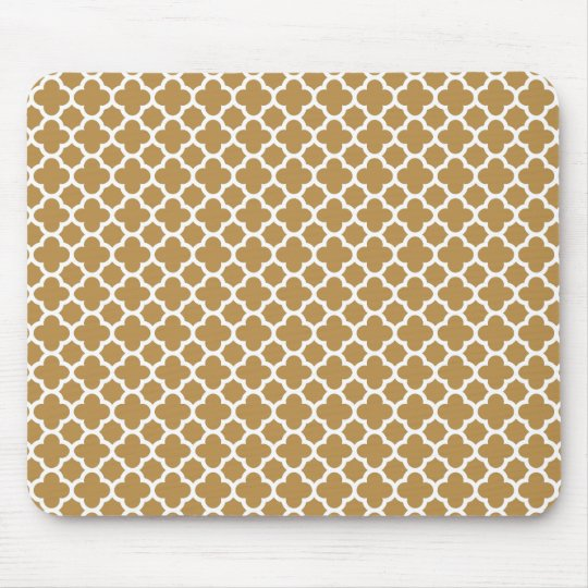 Honey and White Quatrefoil Mouse Mat