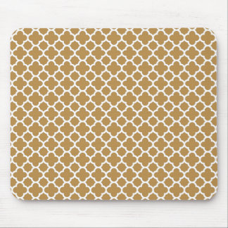 Honey and White Quatrefoil Mouse Pad