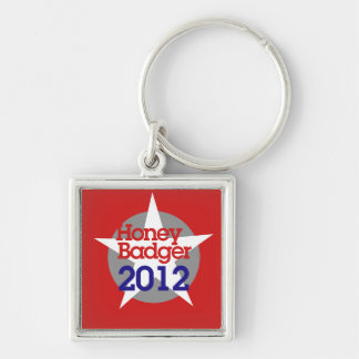 Honey Badger 2012 Silver-Colored Square Key Ring