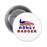 honey badger american flag pinback button