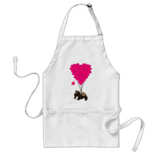 Honey badger and pink heart standard apron