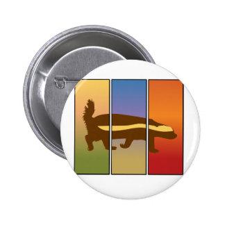 HONEY BADGER ART THREE PANEL SUPER SPECIAL 6 CM ROUND BADGE