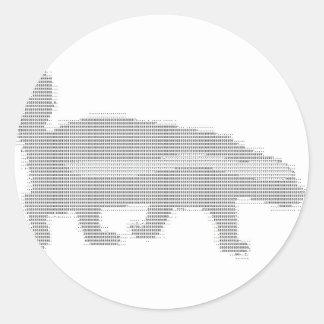 honey badger ascii round sticker