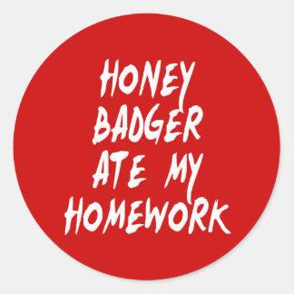 Honey Badger Ate My Homework Classic Round Sticker