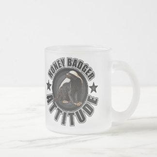 Honey Badger ATTITUDE - Round Design Frosted Glass Coffee Mug