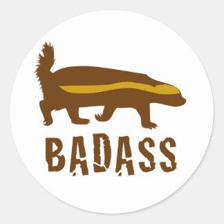 honey badger badass classic round sticker