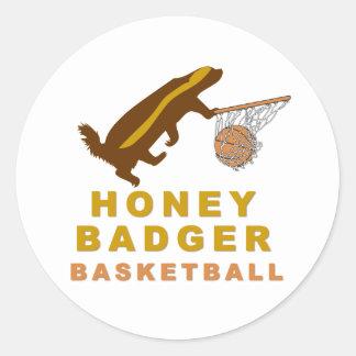Honey Badger Basketball Round Stickers