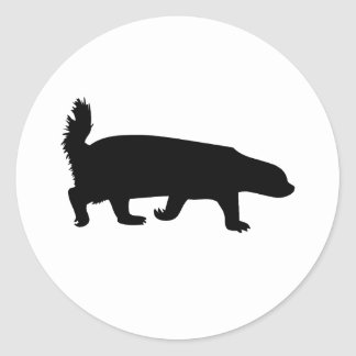 Honey Badger Black Classic Round Sticker