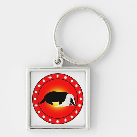 Honey Badger Bride with Veil Silver-Colored Square Key Ring
