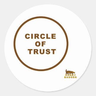 honey badger circle of trust classic round sticker
