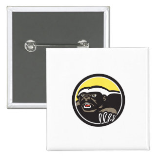 Honey Badger Claws Side Circle Retro 15 Cm Square Badge