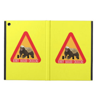 Honey Badger Crossing Sign - Yellow Background Case For iPad Air