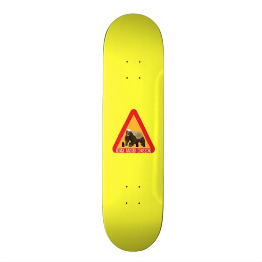 Honey Badger Crossing Sign - Yellow Background Skate Board Deck