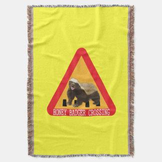 Honey Badger Crossing Sign - Yellow Background Throw Blanket