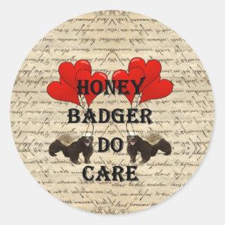 Honey badger do care classic round sticker
