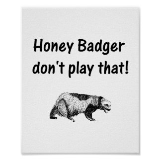 honey badger don t play that posters