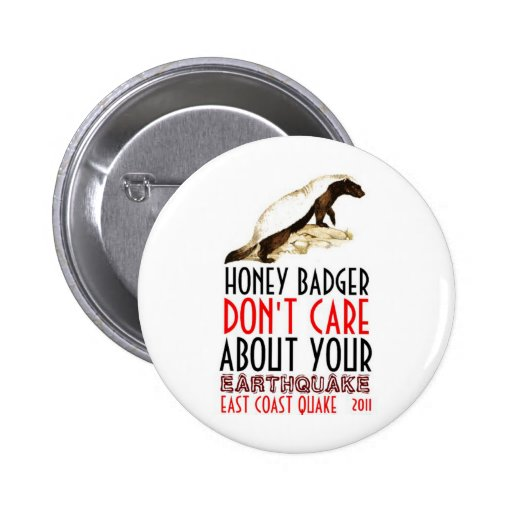 Honey Badger Don't Care About Earthquakes Pins