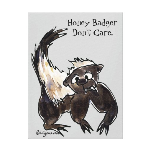 Honey Badger Don't Care Cartoon Wrapped Canvas Stretched Canvas Prints