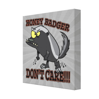 HONEY BADGER DONT CARE FUNNY CARTOON GALLERY WRAPPED CANVAS