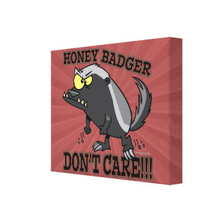 HONEY BADGER DONT CARE FUNNY CARTOON STRETCHED CANVAS PRINTS