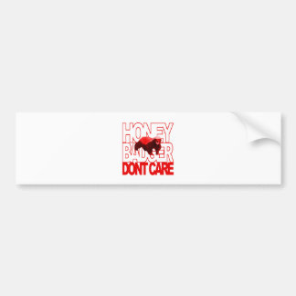Honey Badger Don't Care Red Car Bumper Sticker