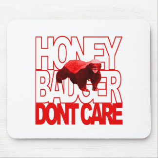 Honey Badger Don't Care Red Mouse Pad