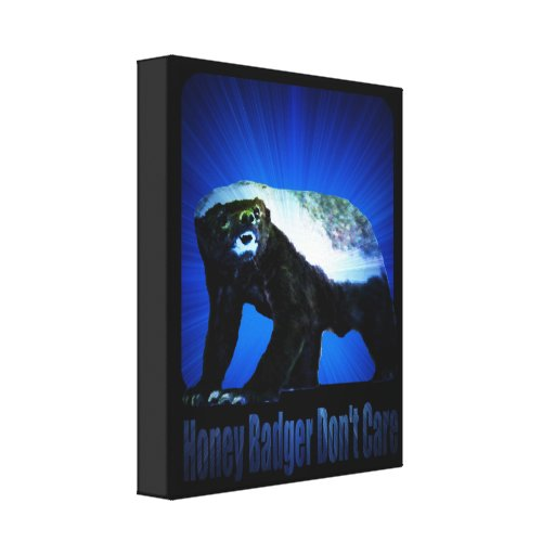Honey Badger Don't Care - Star Rays Blue Gallery Wrap Canvas