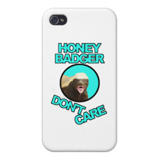 Honey Badger Don't Care Teal Covers For iPhone 4