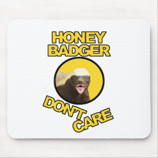 Honey Badger Don't Care Yellow Mouse Pad