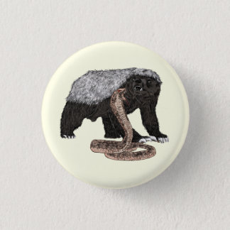 Honey Badger Faces Snake Fearless Animal Design 3 Cm Round Badge