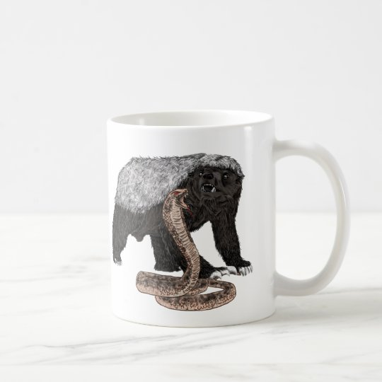 Honey Badger Faces Snake Fearless Animal Design Coffee