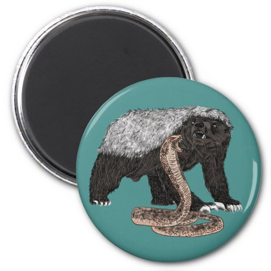Honey Badger Faces Snake Fearless Animal Design Magnet