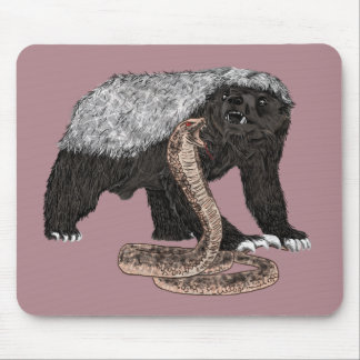 Honey Badger Faces Snake Fearless Animal Design Mouse Mat