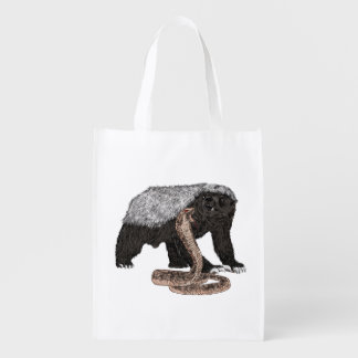 Honey Badger Faces Snake Fearless Animal Design Reusable Grocery Bag