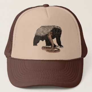 Honey Badger Faces Snake Fearless Animal Design Trucker Hat