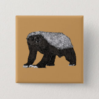 Honey Badger Fearless With Attitude Animal Design 15 Cm Square Badge