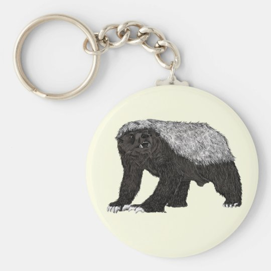 Honey Badger Fearless With Attitude Animal Design Key