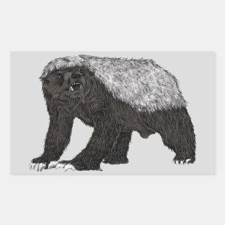 Honey Badger Fearless With Attitude Animal Design Rectangular Sticker