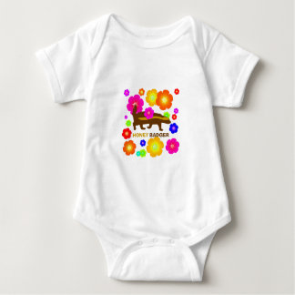 honey badger flowers baby bodysuit
