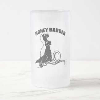 Honey badger frosted glass beer mug