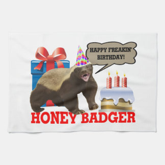 Honey Badger Happy Freakin' Birthday Tea Towel