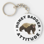 Honey badger has attitude basic round button key ring
