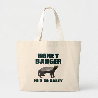 Honey Badger He's So Nasty Canvas Bags