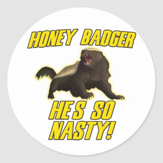 Honey Badger He's So Nasty Classic Round Sticker