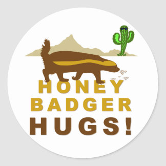 Honey Badger Hugs Classic Round Sticker