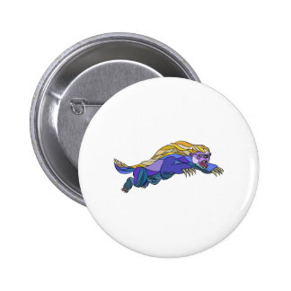 Honey Badger Jumping Drawing 6 Cm Round Badge