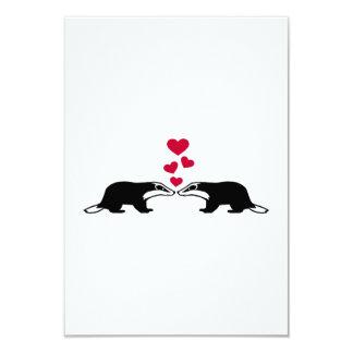 "Honey badger love hearts 3.5"" x 5"" invitation card"