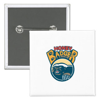 Honey Badger Mascot Claw Circle Retro 15 Cm Square Badge