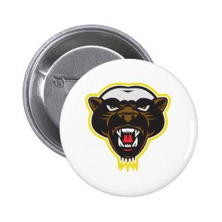Honey Badger Mascot Head Pinback Buttons
